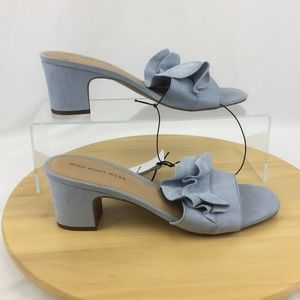 9f3dd27c9 Who What Wear Shoes - Who What Wear Blue Ruffle Zadie Slide Sandals 9.5